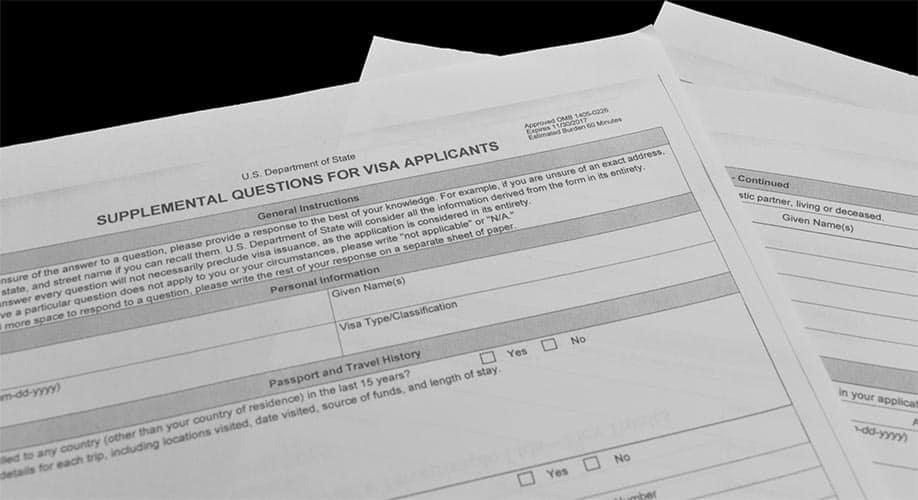Novo Formulário de Visto Americano