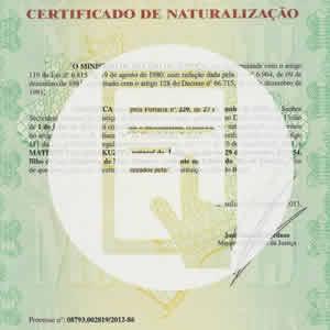 Certificado de Naturalização